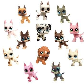Lps Pet Shop Brinquedos Great Dane Cocker Spaniel Dog Cat Cabelo Curto Preto Rosa Branco Lps Coleção Simulação Bonito Cosplay crianças