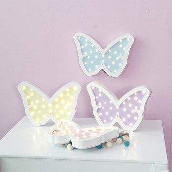 היפה 3D פרפר עץ תליית לילה אור LED מנורת קיר חדר שינה מתנות לילדים מסיבת חתונת קישוט בית 4 צבעים