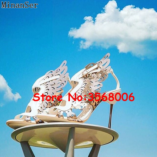 Cut outs Peep Toe Women Buckle Strap Stiletto Patchwork Sandals Gold White Leather Butterfly Classic Lady