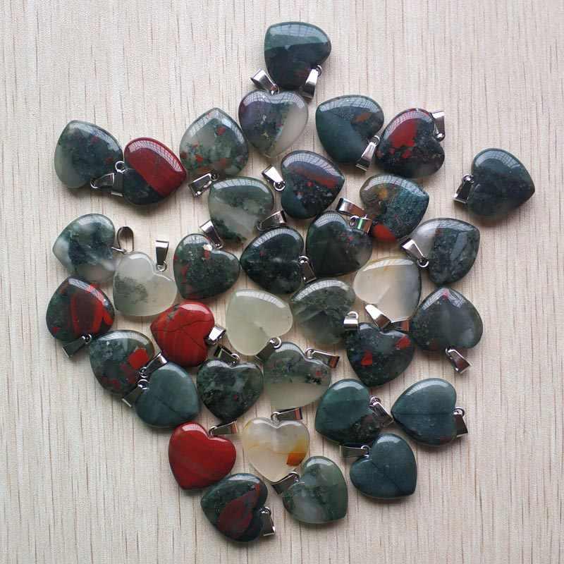 Năm 2019 thời trang chất lượng tốt tự nhiên Bloodstone trái tim hình Mặt dây chuyền trang sức làm 20mm 50 cái/lốc Sỉ miễn phí vận chuyển