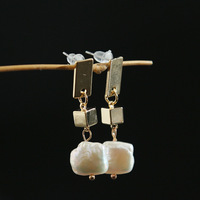 Geometry of Natural Special shaped Pearl Ear Nails S925 Silver Needle Imported by Women with Square Pearl Ear Nails