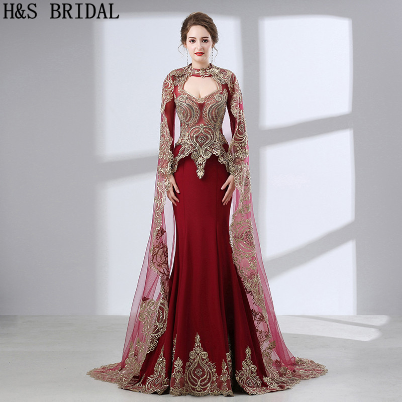 H & S manches longues abiye musulman dubaï caftan robe de soirée abendkleider galajurk meramide robe avondjurk dentelle robe de bal avec boléro
