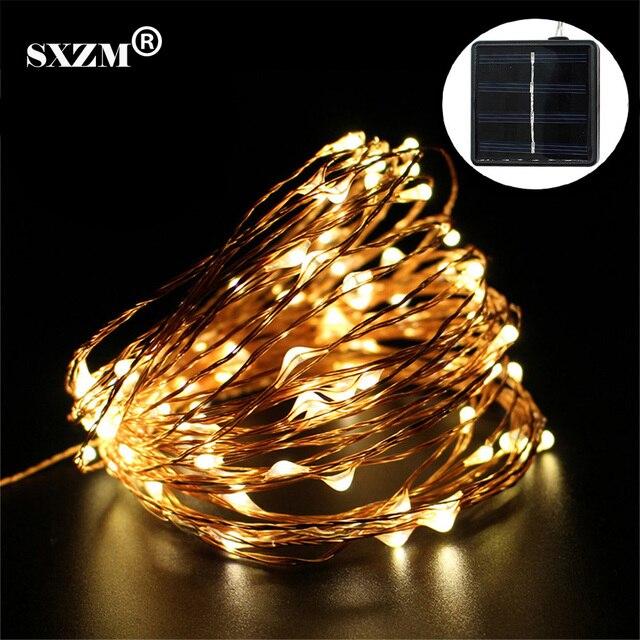 SXZM Solaire LED guirlande lumineuse 15 M 150 Led Fil De Cuivre
