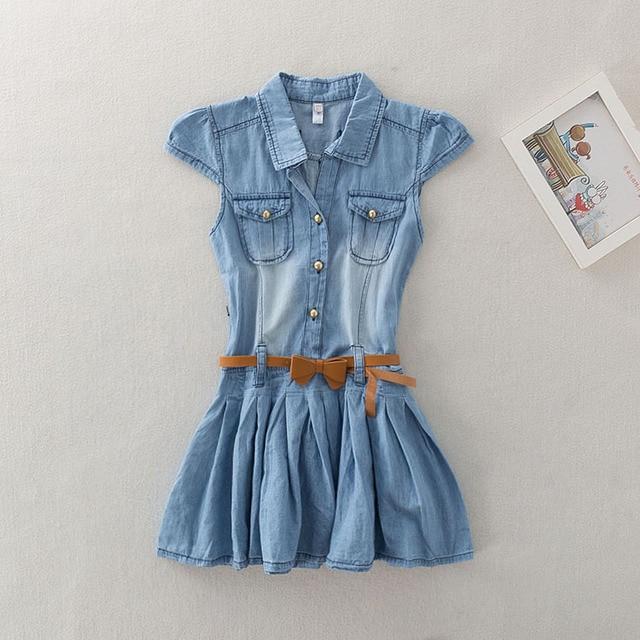 f976352595e3 Girls Summer Denim Dresses Baby Girls Fashion Short Sleeve Denim ...