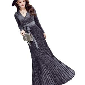 Женская одежда 2020, сексуальное трикотажное плиссированное платье с длинным рукавом, женские вечерние платья макси с глубоким v-образным выр...