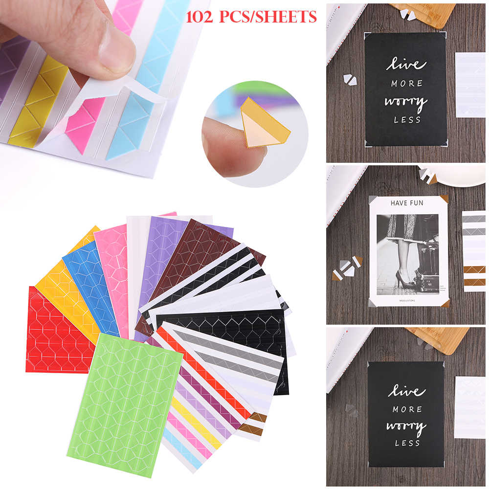 102pcs/sheet New Fashion DIY Colorful Photo Corner Protectors Scrapbook Paper Photo Albums Frame Picture Decoration PVC Stickers
