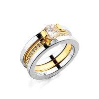 Tyme fashiontitanium鋼リングステンレススチールゴールドカラーリング卸売シンプルな人格ジルコンシルバー結婚指輪女