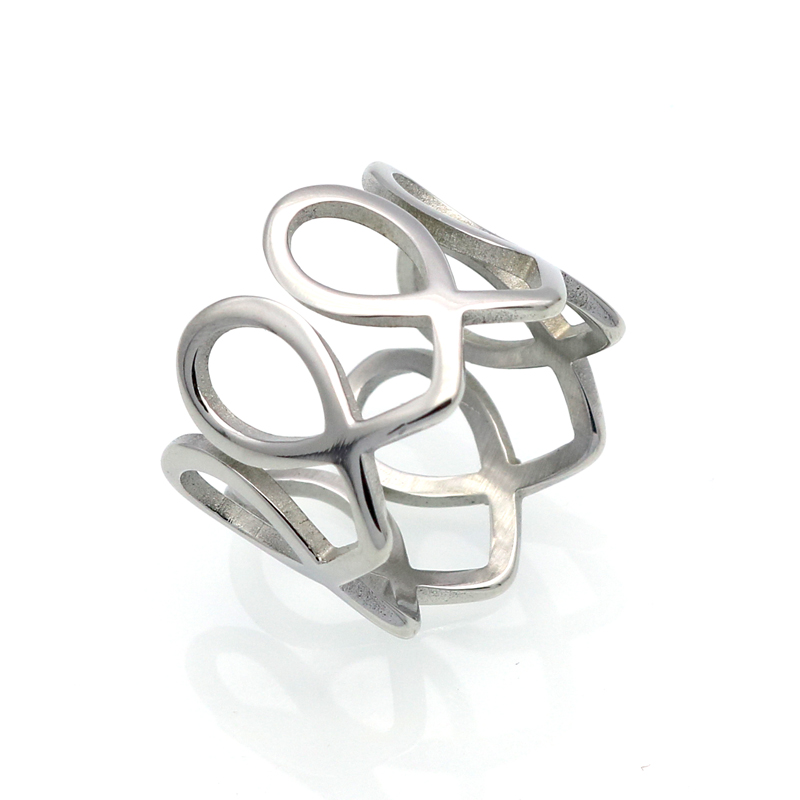 stainless steel rings unique wide wreath design gold