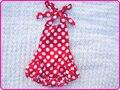 Estilo verão recém-nascido baby girl cotton dot ruffle rompers do bebê roupa infantil uma peça romper roupas