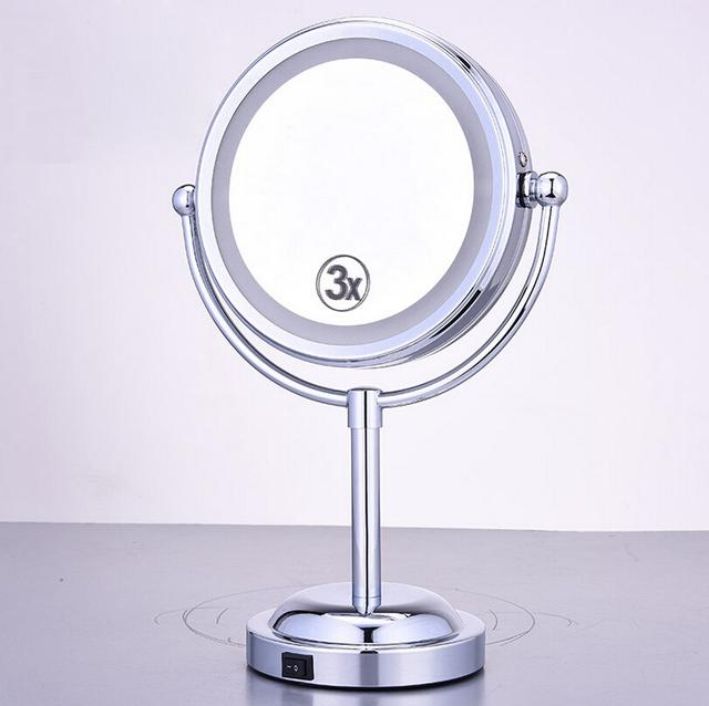 Venta caliente LED Espejo de Maquillaje Cosmético Dual Side Mini Señora de La Muchacha Mujeres Señora Belleza Normal de Aumento de Herramientas de Soporte de 6 pulgadas