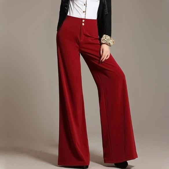 ffe5d8608b93c High Quality Ladies Loose Dress Pants Plus Size 6xl Women Wide Leg Palazzo Pants  Female Work Bell Bottoms Red Green Khaki Black