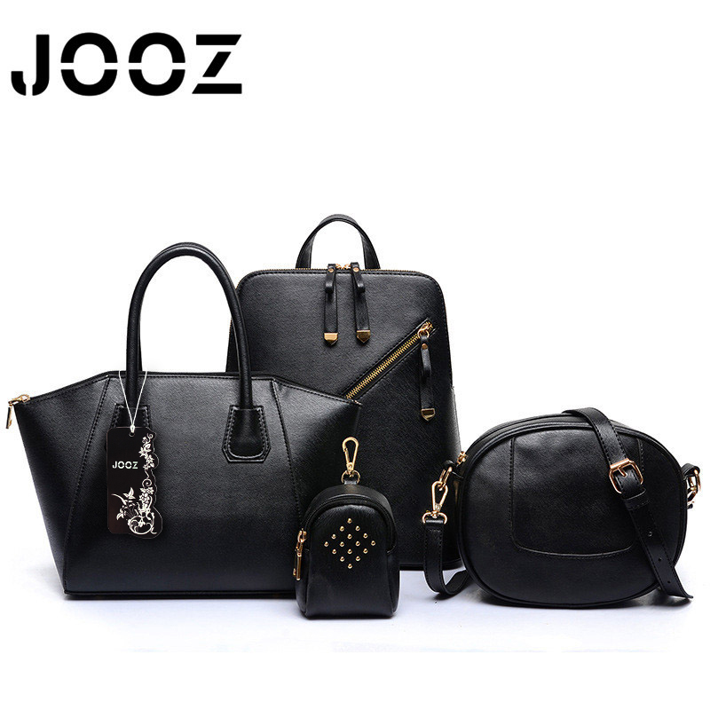 JOOZ Brand New Luxury Lady Handbag 4 Pcs Composite Women Bags Set Shoulder Crossbody Saddle Frame Bag Female Wallet Purse Clutch jooz brand luxury belts solid pu leather women handbag 3 pcs composite bags set female shoulder crossbody bag lady purse clutch
