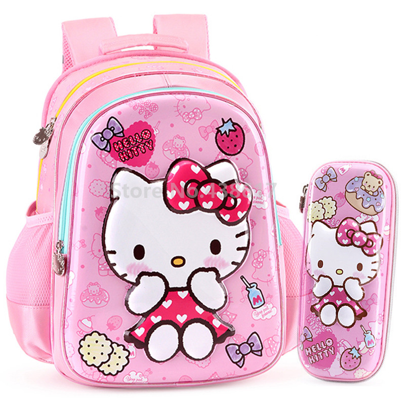 9ff6b63613dd Cute 3D Pink Hello Kitty Girls Backpack School Bag With Pencil Case Set For Kids  Children