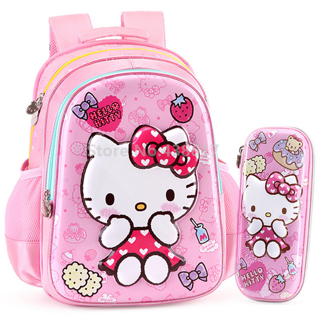 90e0f877f009 Cute 3D Pink Hello Kitty Girls Backpack School Bag With Pencil Case Set For Kids  Children