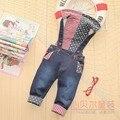 Frete grátis 2017 outono das crianças roupas de bebê calças de brim menino criança macacão com capuz
