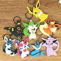 8 Шт./лот Pocket Monsters Eevee Япония Мультфильм ПВХ Брелок Мини Цифры подвески подвески коллекция игрушка-Кольцо Для Ключей