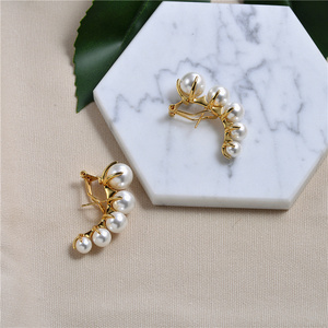 Image 3 - European and American fashion niche brands gradually change Pearl ear nails female exaggeration temperament vintage earrings