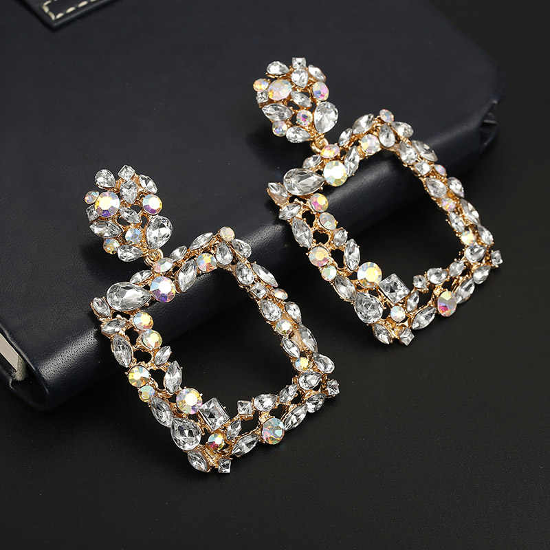118 New Punk Crystal Metal Dangle Drop Earring 2019 Gold Color Geometric Statement Earrings For Women Jewelry Female Accessories