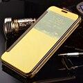 Для Samsung J3 (2016) кожаный Чехол Люкс Золотое Покрытие Зеркало Флип Чехол Для Samsung Galaxy J3 2016 Четкое Представление Разумной Крышка