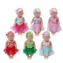 43 cm baby dolls Clothes new born strapless Skirt Baby doll + Hair band Dress toys fit American 18 inch Girls zf12