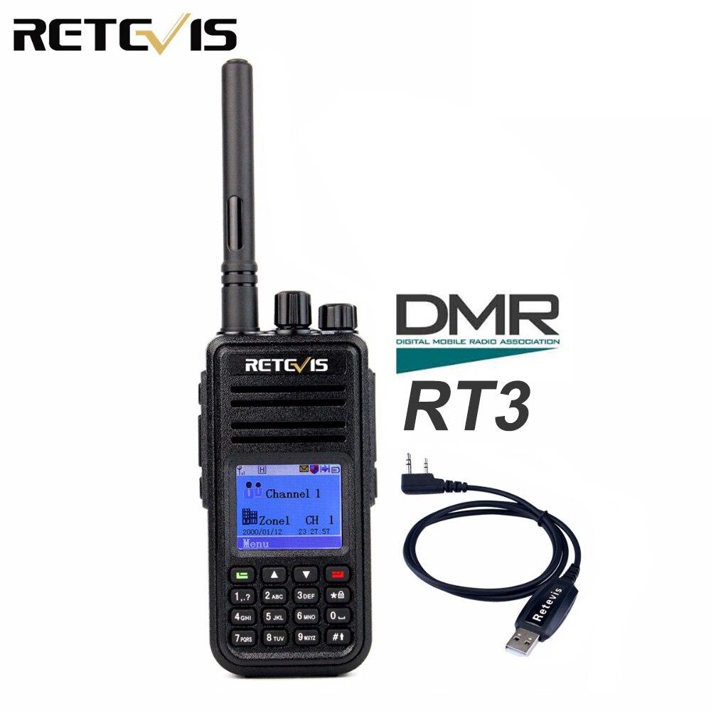DMR Radio talkie walkie numérique Retevis RT3 (GPS) UHF 400-480 MHz 5 W 1000CH Jambon Radio Hf Émetteur-Récepteur 2 antenne + Programme Câble