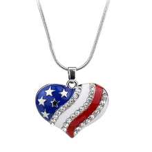American Flag Star Heart Charm Necklace Pendants For Fourth of July Independent Day Men Women Party Costume Accessories