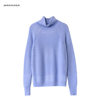 wool sweater for women runway fashion high quality knitted thick warm blue color oversized turtleneck sweater pullovers jumper