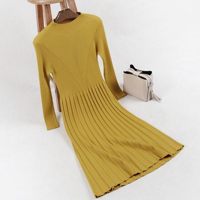 Wool Dress with Pleats
