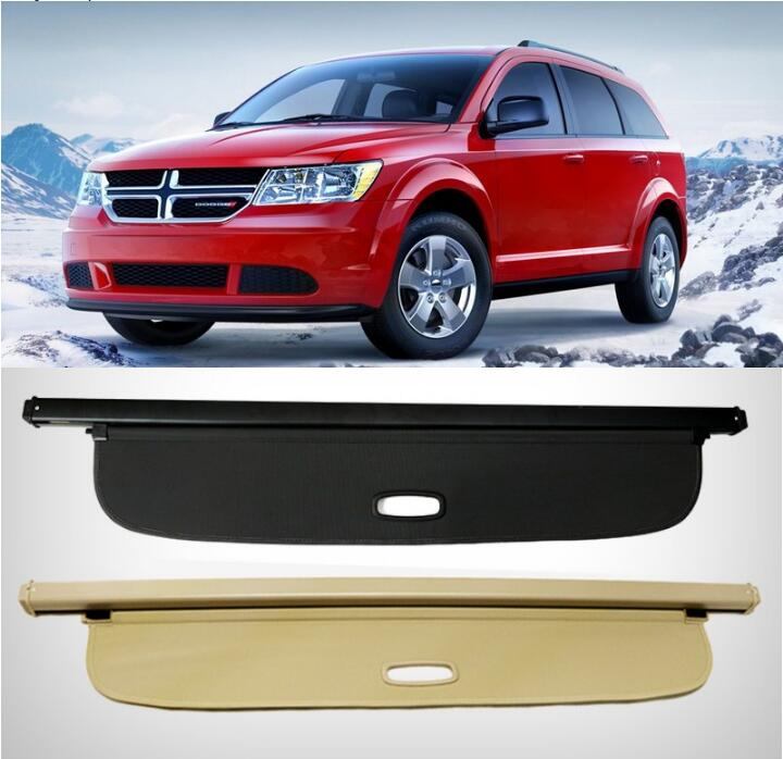Car Rear Trunk Security Shield Shade Cargo Cover For Dodge Journey JCUV 2013 2014 2015 2016 2017 5/7 seats(Black beige) car rear trunk security shield cargo cover for lexus rx270 rx350 rx450h 2008 09 10 11 12 2013 2014 2015 high qualit accessories