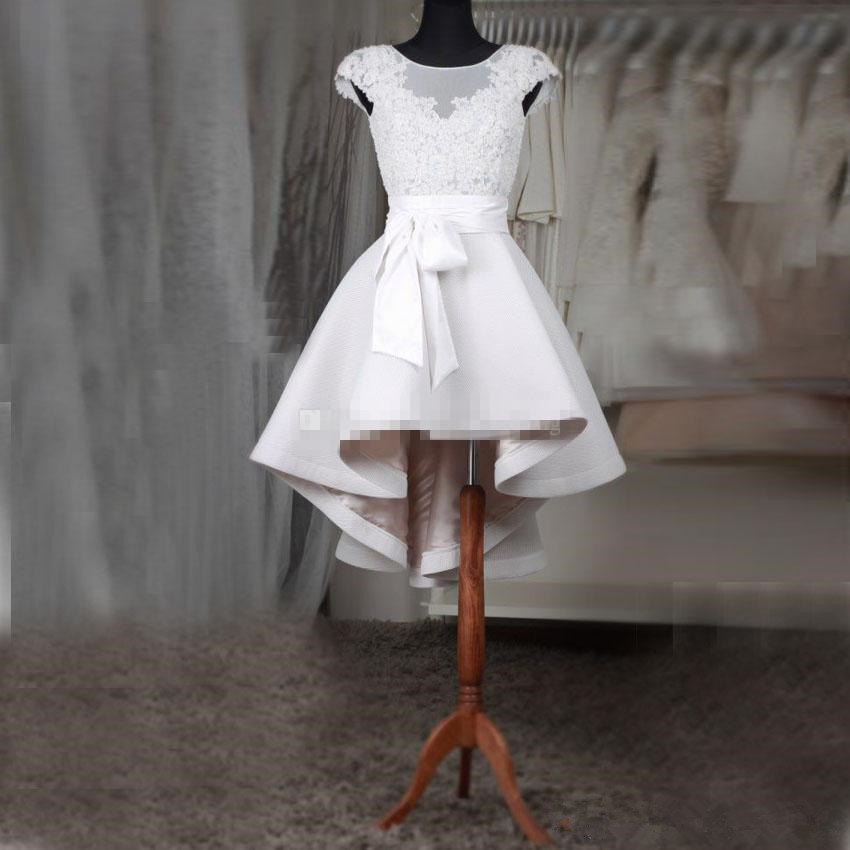 White Short   cocktail     Dresses   2019 Plus Size Sheer Neck Cap Sleeves Appliques Lace Satin Custom Made High Low Prom   Dresses   Fast