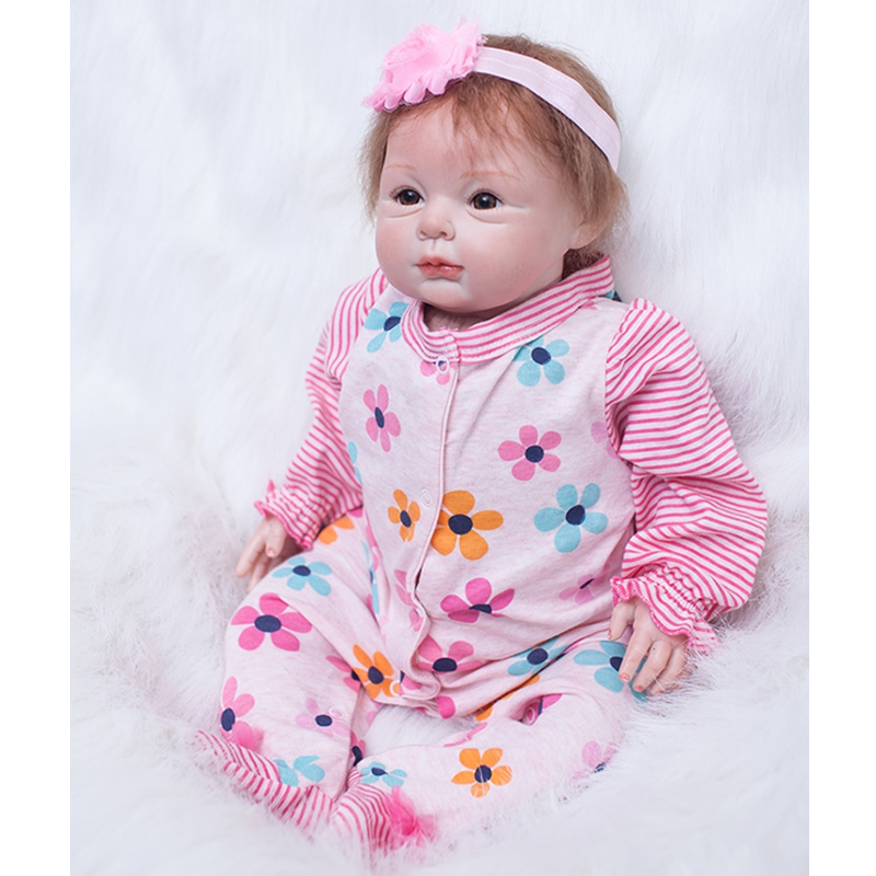 Alive Reborn Baby Girl Soft Silicone 22 Inch 55 cm Princess Doll Newborn Babies Toy With