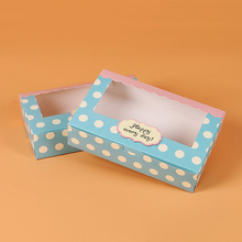 100 pcs gift paper box with window for wedding kids dot green kraft Paper cake food packaging sweety candy cookies supplier