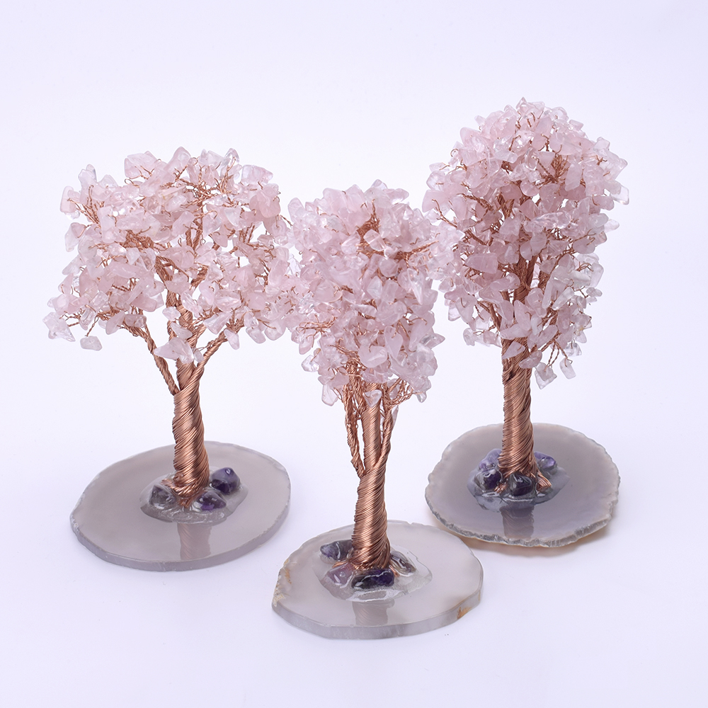 Crystal Rose Quartz Lucky Money Tree Figurine Pink Ornament Tree Fengshui with Natural Agate Stand for Home Office Decor