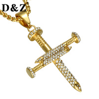 D Z Hip Hop Ice Out Nail Gold Cross Pendant For Men Stainless Steel Bling Rhinestone