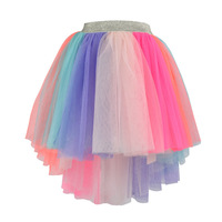 Little Girls skirt Rainbow Striped tulle Pettiskirt Tutu infant Stitching Multi Layer Skirts Sequins Childrens clothes size 6T