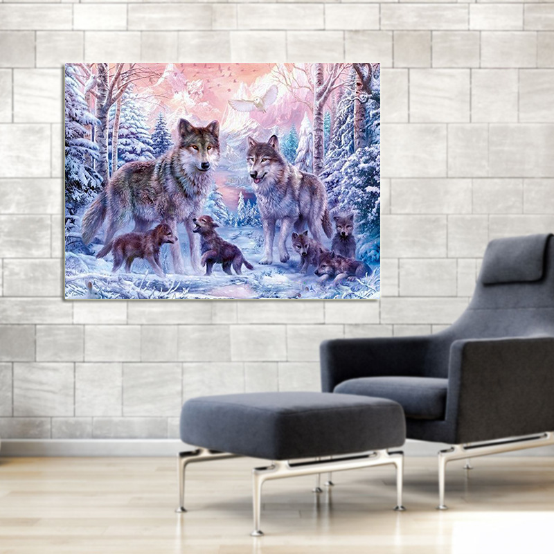 DIY 5D dimond painting wolf Animals full square diamond embroidery sale for Diamond Mosaic Crafts Christmas Gift