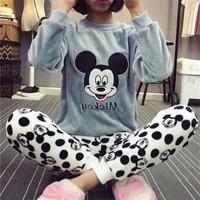 Фланелевая зимняя женская пижама, пижамный комплект, домашняя одежда с длинным рукавом, мультяшный пижамный комплект, одежда для сна, женск...