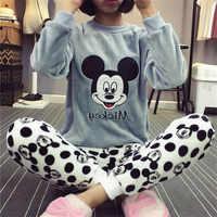 Pijamas de flanela de inverno feminino conjunto de pijama de manga longa dos desenhos animados conjunto de pijamas pijamas femininos grosso quente pijamas