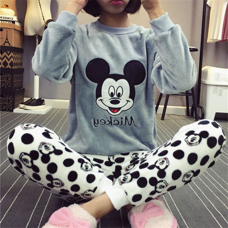 Flannel Winter Women's Pajamas Pajama Set Home Wear Long Sleeve Cartoon Pijama Set Sleepwear Women Pyjamas Thick Warm Nightwear