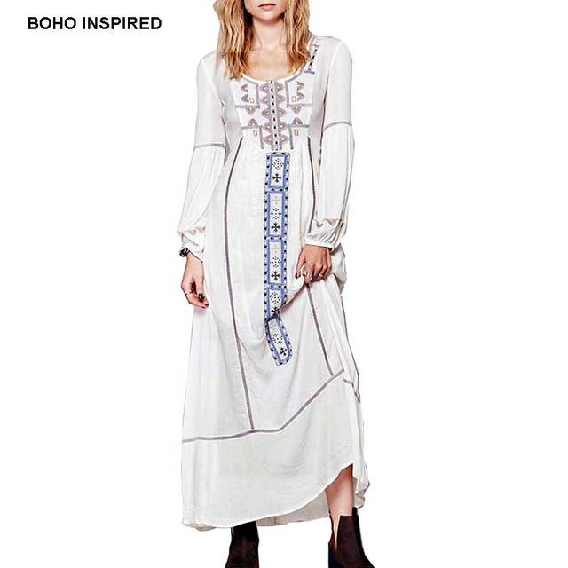 fe7dced62659 BOHO INSPIRED maxi dress long sleeve embroidered Bohemian white cotton autumn  dresses vestidos Hippie chic clothing robe femme