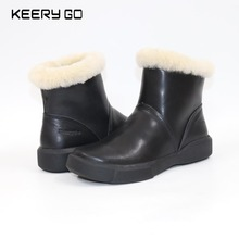 New high-end cowhide + sheepskin wool boots, comfortable warm women boots, mother shoes