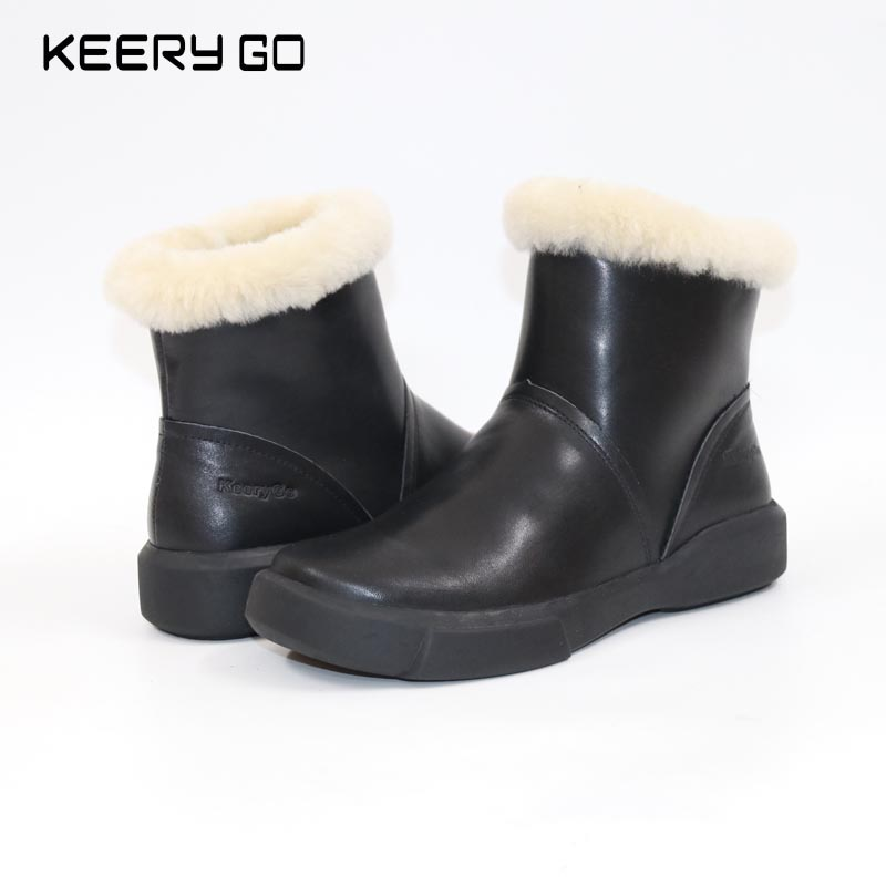 KEERYGO Snow Boots Leather Woolen Boots