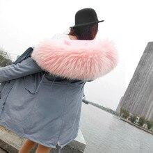 OFTBUY марка 2017 новый большой мех енота с капюшоном с длинным зимняя куртка женщины куртка природный настоящее шуба для женщин толстые теплые лайнер