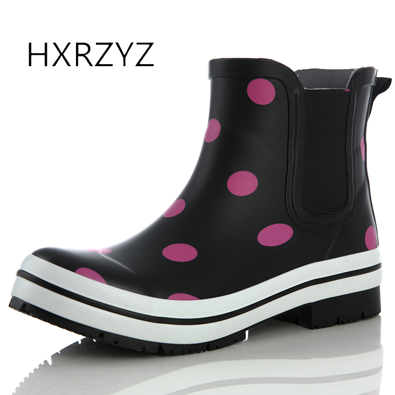HXRZYZ women rain boots chelsea ankle rubber boots ladies spring/autumn new fashion anti-skid waterproof women black short shoes new spring autumn rain boot woman ankle boots sexy women rain boots