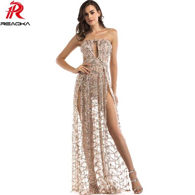 b59a6e9e4b7b Donne Sexy di lusso Senza Spalline Paillettes Abito Lungo Club Waer 2017  elegante Oro Nero Bianco