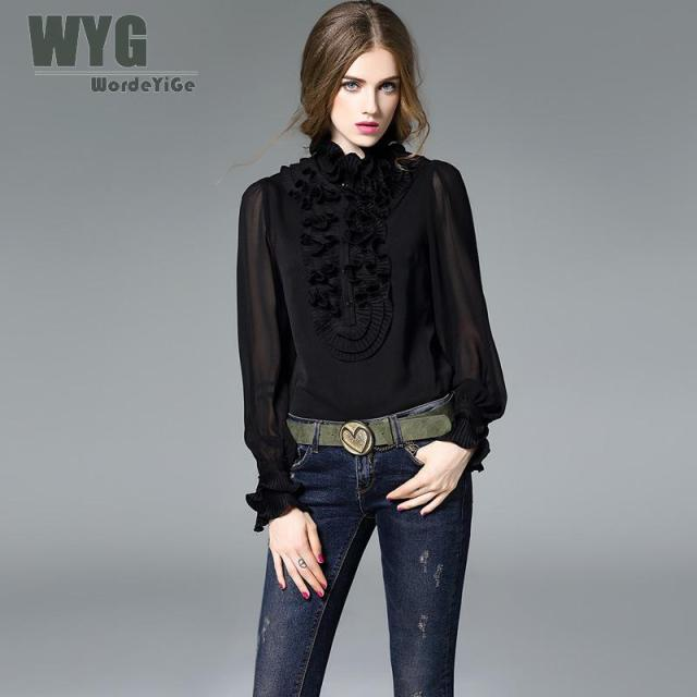 Ladies Black and White Georgie Silk Blouses 2017 Autumn High-end America Style Pleated Ruffle Cute Joined Shirts WYG