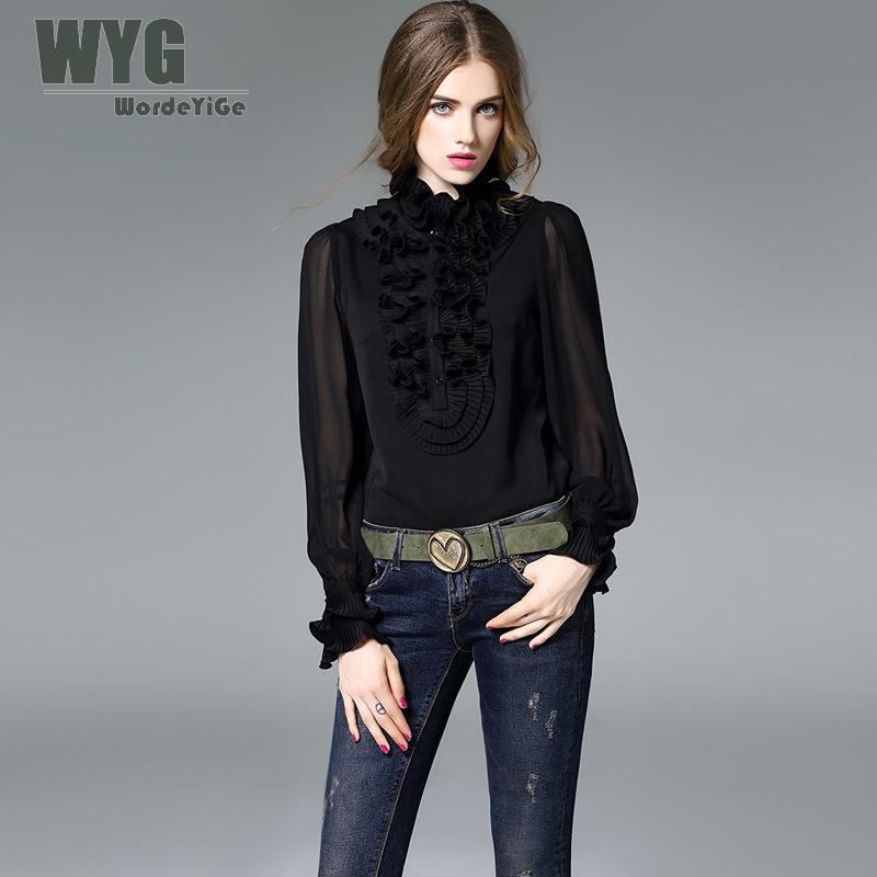 Ladies Black and White Georgie Silk Blouses 2017 Autumn High end America Style Pleated Ruffle Cute Joined Shirts WYG