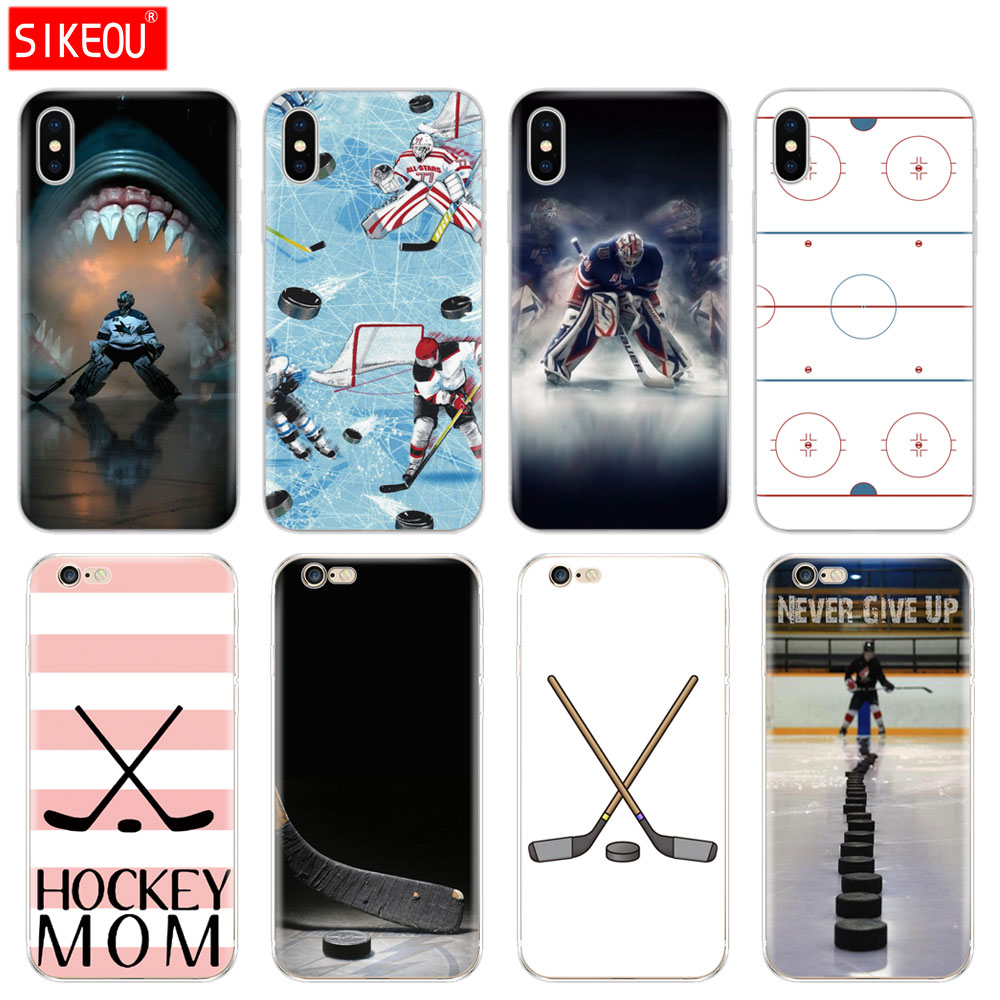 Silicone Cover Phone Case For Iphone 6 X 8 7 6s 5 5s SE Plus 10 XR XS Max Case ice Hockey Rink sport Mom iphone
