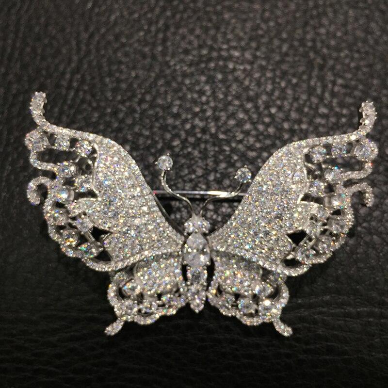 Белая брошь в виде бабочки из стерлингового серебра 925 пробы с кубическим цирконием, высокое качество, романтическая модная женская бижутер