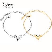 544ac46792a4 UZone marca famosa carta V pulsera del encanto para las mujeres de acero de  titanio de